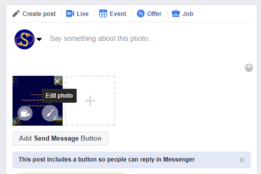 Screenshot of how to put alt text on Facebook post