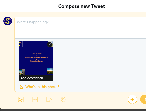 Screenshot of how to add alt text to Twitter image
